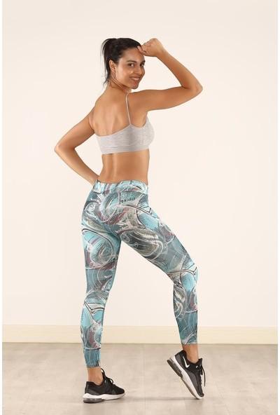 Cool&wear 21611 Dijital Baskı Yüksek Bel Toparlayıcı Spor Tayt