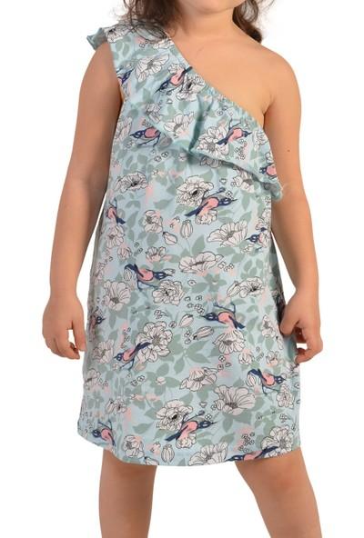 Nicoletta Mavi Kız Çocuk Tunik Gecelik Geniş Tek Askılı Pamuk