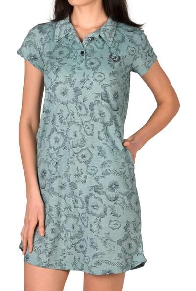 Nicoletta Yeşil Kadın Tunik Gecelik Yakalı Kısa Kollu Viskon XL