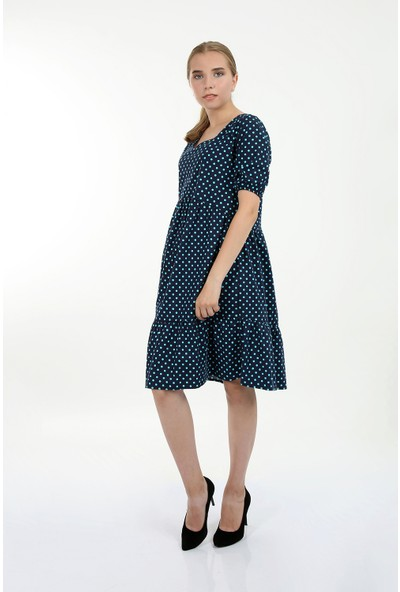 Anitabella Puantiyeli Mavi Elbise