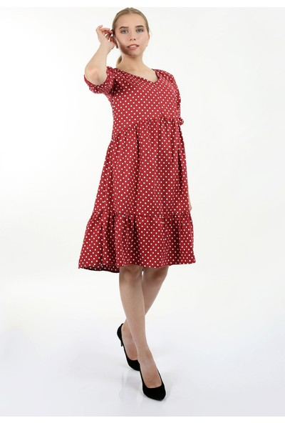 Anitabella Puantiyeli Kırmızı Elbise
