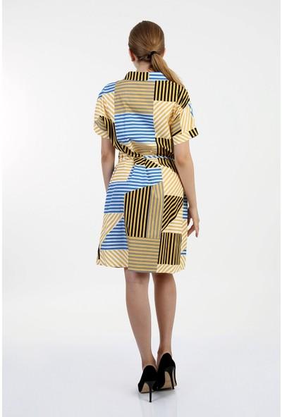 Anitabella Çizgi Desenli Elbise