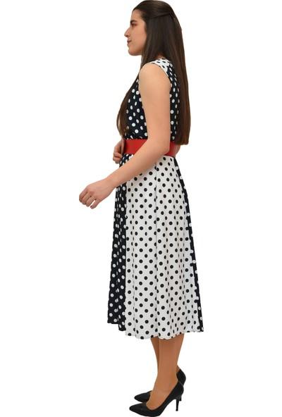 Anitabella Beyaz Puantiyeli Elbise
