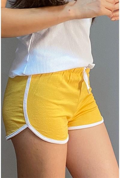 Esepetim Kadın Sweatshirt Spor Mini Lastikli Şort Sarı (S)