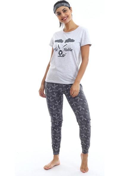Agis Kadın Gri Tavşan Baskılı Pijama Takımı