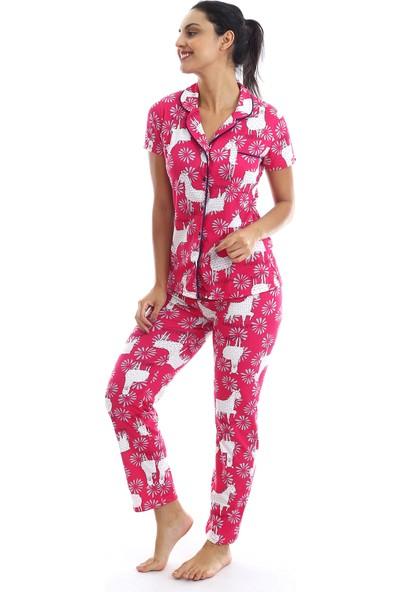 Agis Kadın Nar Çiçeği Düğmeli Geyik Baskılı Pijama Takımı