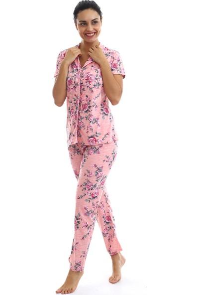 Agis Kadın Pembe Düğmeli Çiçek Baskılı Pijama Takımı