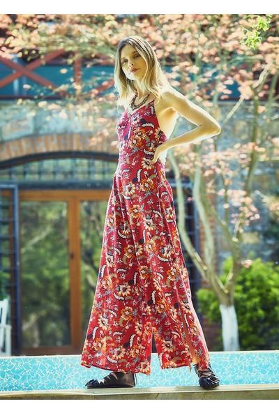 Clandestino Çiçek Desenli Askılı Şık Tulum Kırmızı