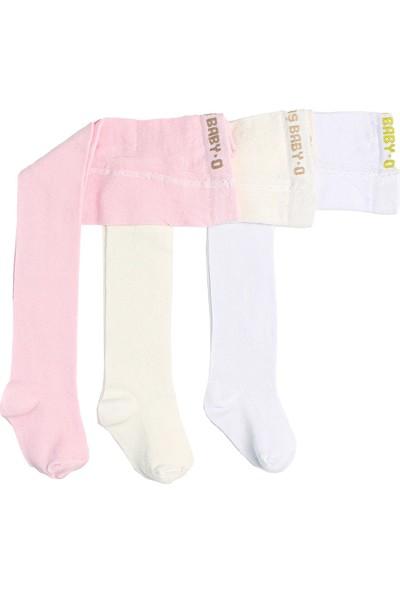 İlbaş Pamuklu Düz Kız Bebek Külotlu Çorap 3'lü Paket