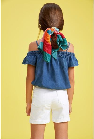 Defacto Kız Çocuk Fırfırlı Kolsuz Jean Bluz