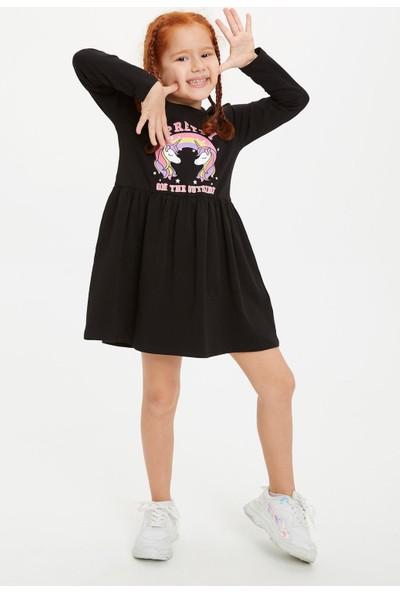 Defacto Kız Çocuk Unicorn Ve Gökkuşağı Baskılı Elbise