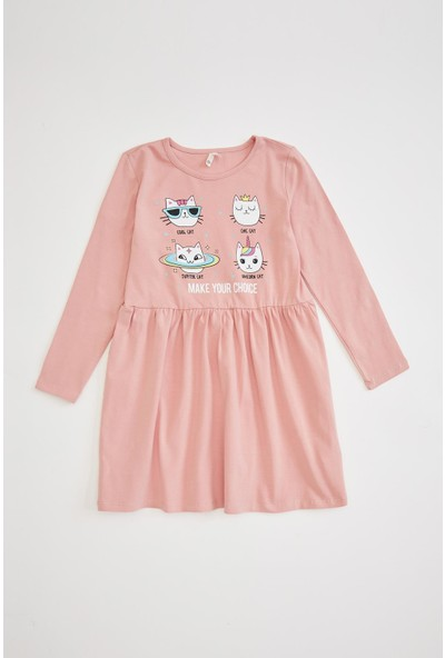 Defacto Kız Çocuk Kedi Baskılı Uzun Kollu Elbise