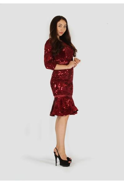 Rapellin Payetli Kadife Elbise 42