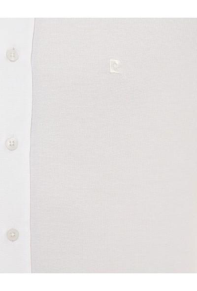Pierre Cardin Erkek Beyaz Slim Fit Armürlü Gömlek 50227373-VR013