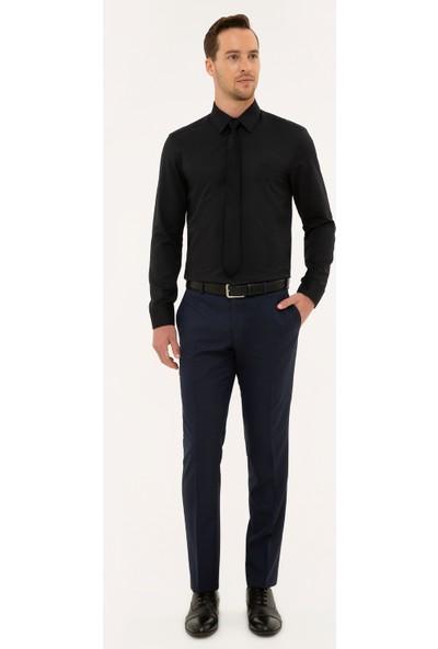 Pierre Cardin Erkek Siyah Slim Fit Armürlü Gömlek 50227373-VR046