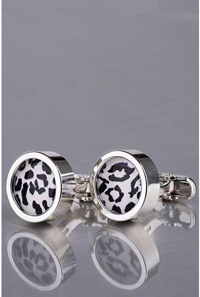 Kravatkolik Gümüş Renk Yuvarlak Kol Düğmesi KD1169