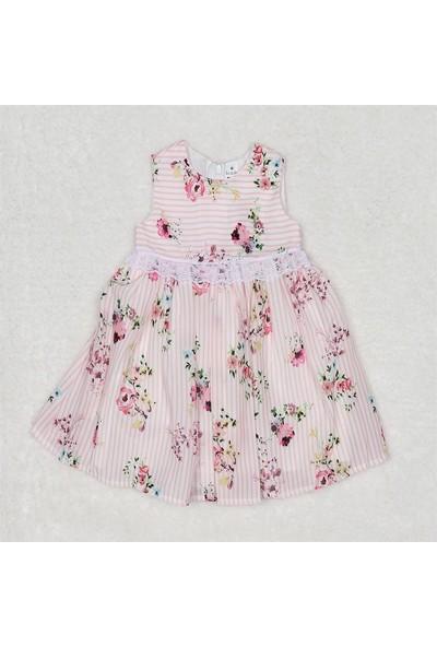Bestido Kız Bebek Çizgili Dantelli Astarlı Elbise