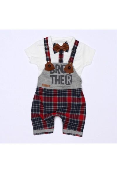 Murat Baby Papyonlu Ekose Slopet Yazlık Erkek Bebek Tulum