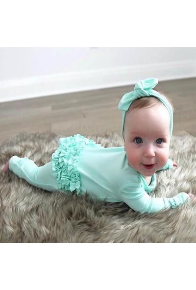 Murat Baby Kız Bebek Fırfırlı Fermuarlı Tulum Nil Yeşil