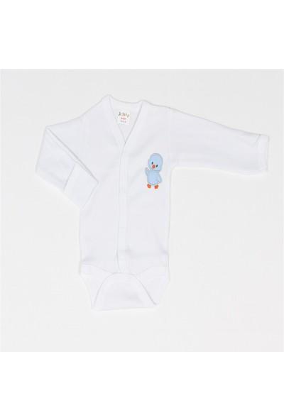 Poyraz Bebe Civciv Nakışlı Kendinden Eldivenli Çıtçıtlı Beyaz Body