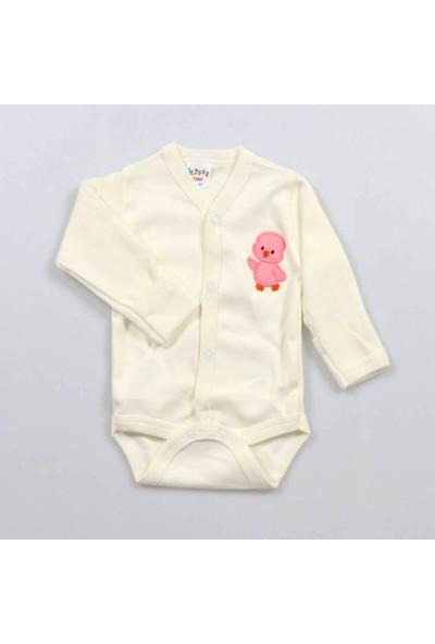Poyraz Bebe Civciv Nakışlı Kendinden Eldivenli Krem Çıtçıtlı Kız Bebek Body