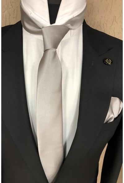 Quesste Düz Saten İnce Mendilli Kravat Gri 6 cm