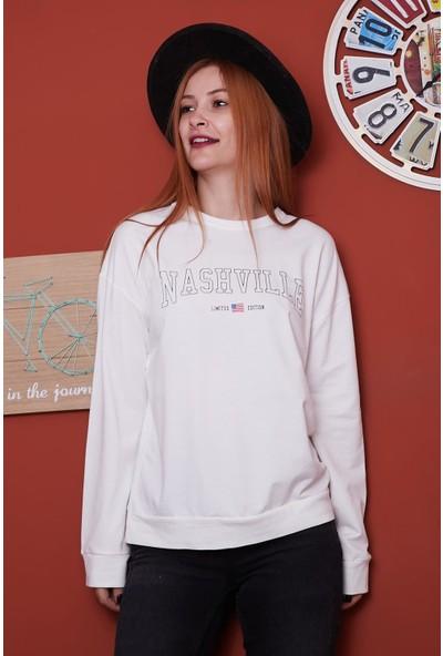 Vog Kadın Nashville Baskılı Sweatshirt