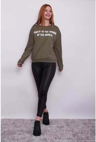 Vog Kadın Power To The Women Yazılı Basic Sweatshirt