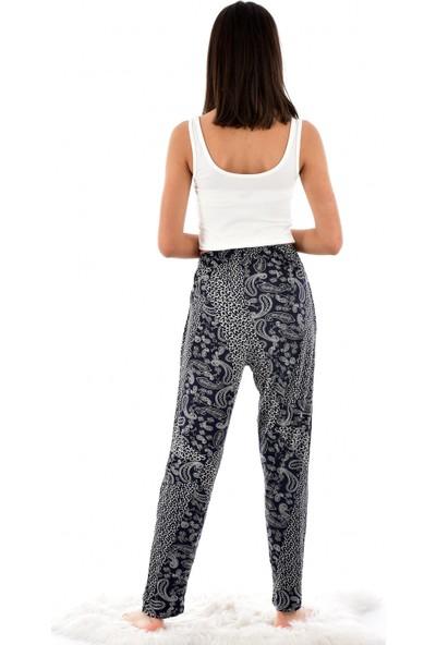 Pijamoni Kadın 9300-1 Desenli Cepli Viskon Şalvar Pantolon Lacivert
