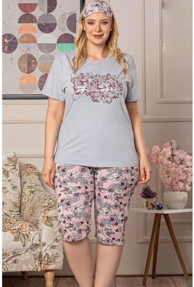 Arcan Kadın 30120-17 Büyük Beden Kaprili Pijama Takımı Gri