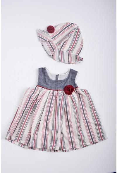 Capps Kız Bebek Çizgili Elbise Şapka Takım Bordo