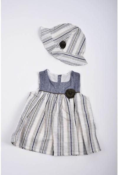 Capps Kız Bebek Çizgili Elbise Şapka Takım Haki