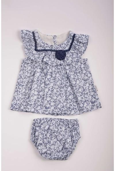 Capps Kız Bebek Çiçek Desenli Elbise Külotlu Takım Lila