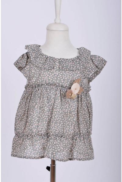 Caaps Kız Bebek Çiçek Desenli Elbise Şapka Takım