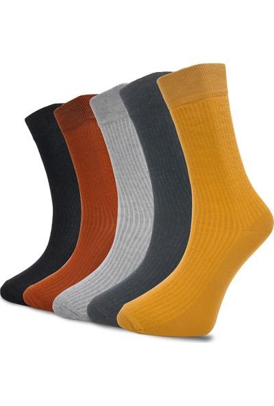 Çekmece 5'li Modern Çizgili Pamuk Erkek Soket Çorap