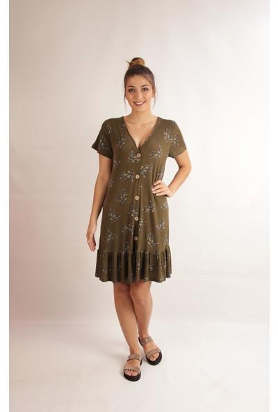 Alexander Gardi Çiçekli Önü Düğmeli Fırfırlı Elbise Hakı (B20-147604)
