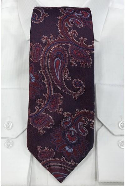 Quesste Mürdüm Şal Desen Mendilli Kravat 8 cm