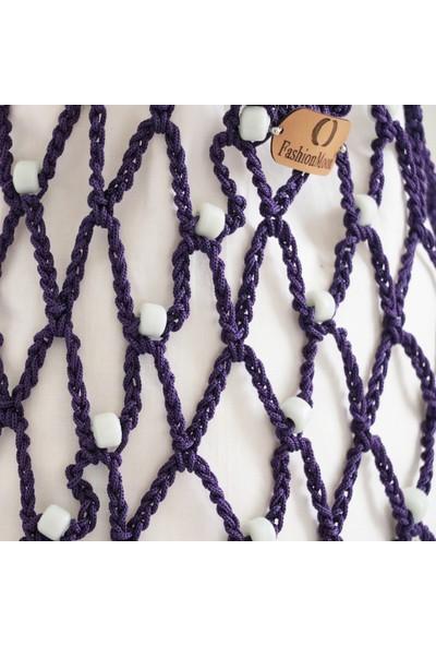 Vintech File Merserize Çanta Yazlık Çanta El yapımı Çanta Organik Beyaz Cam Boncuklu Mor Çanta