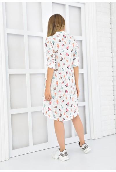 Burrasca Karpuz Desenli Gömlek Elbise
