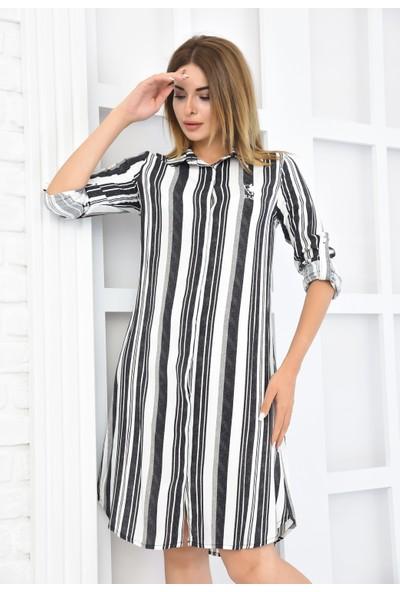 Burrasca Keten Görünümlü Gömlek Elbise