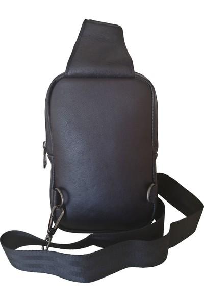 Lederax Hakiki Deri Çift Taraf Askılı Mini Göğüs Çantası Bodybag