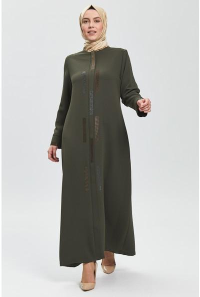 İhvan Derin Haki Renk Zigzag Taşlı Kadın Ferace 9070-20