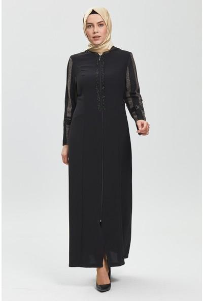 İhvan Derin Siyah - Bakır Kapüşonlu Ferace 9127-20