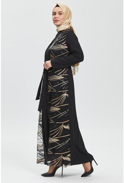 İhvan Derin Siyah Gold Çizgili Ferace 8013-20