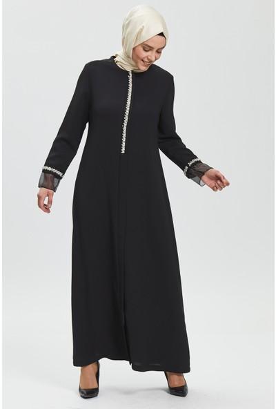 İhvan Derin Siyah Incili Ferace 9087-20