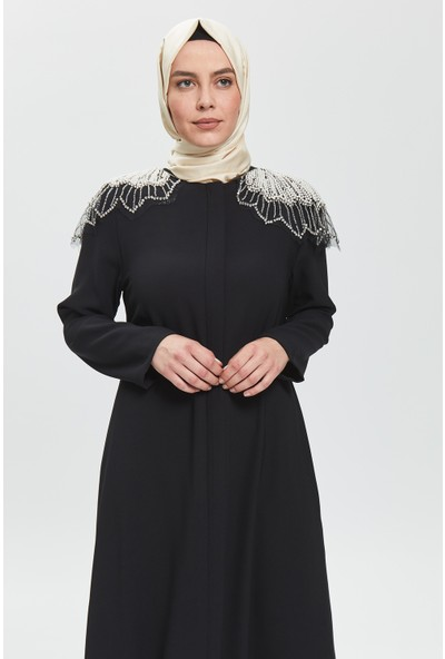 İhvan Derin Siyah Omuz Incili Ferace 8020-20