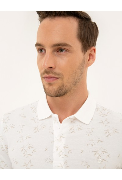 Pierre Cardin Erkek Beyaz Slim Fit Polo Yaka T-Shirt 50226636-VR011