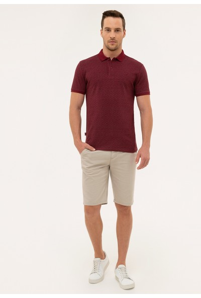Pierre Cardin Erkek Bordo Slim Fit Polo Yaka T-Shirt 50226641-VR014