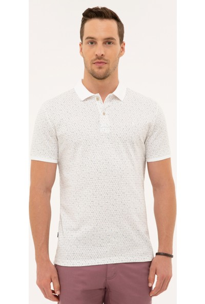 Pierre Cardin Erkek Beyaz Slim Fit Polo Yaka T-Shirt 50226641-VR013