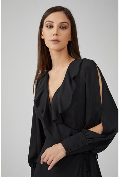 Gusto Yakası Volanlı Kolu Manşetli Astarlı Uzun Elbise - Siyah